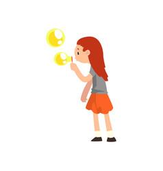 Girl blowing soap bubble cartoon vector