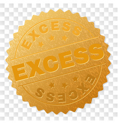 Gold excess medal stamp vector
