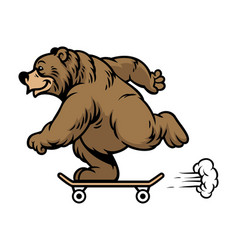 Grizzly bear riding skateboard vector
