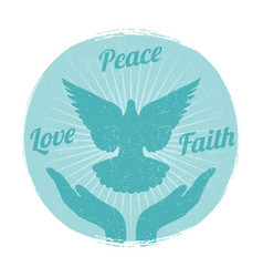 Grunge dove peace flying from hands love freedom vector