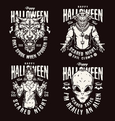 Halloween night vintage emblems vector