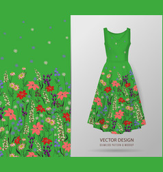 Hand drawn floral pattern on dress mockup vector