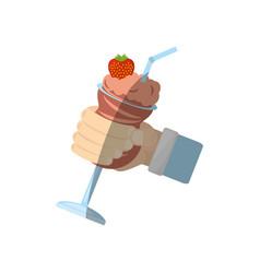 Hand holding chocolate ice cream strawberry vector