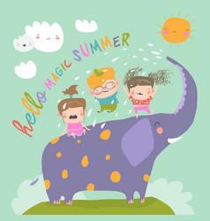Happy kids with big elephant meet summer vector