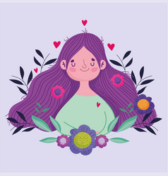 Happy mothers day cute woman flowers in hair vector