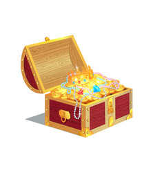 Heavy wooden chest full of ancient gold treasures vector