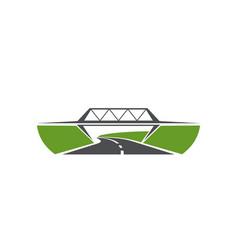 Highway level junction road bridge icon vector