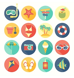 icons round summer vector image