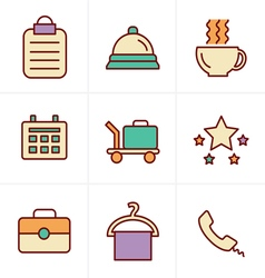 Icons Style Hotel and Hotel Services Icons with Wh vector
