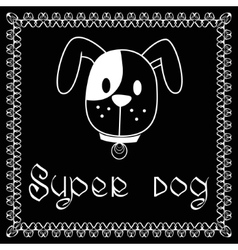 image of dog on black background vector image