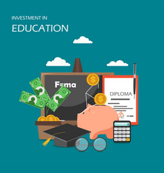 Investment in education concept flat vector