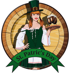 Irish waitress with beer label vector