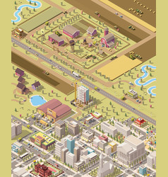 Isometric low poly farm and city vector