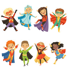 Kids in superhero costumes funny characters vector