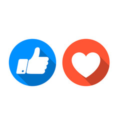 Like and heart icon set vector