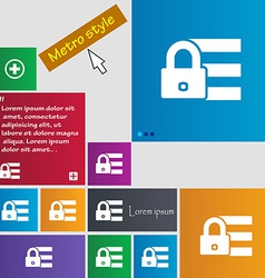 Lock login icon sign Metro style buttons Modern vector