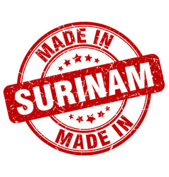 Made in surinam red grunge round stamp vector