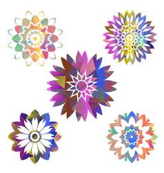 mandala colorful polygons collection vector image