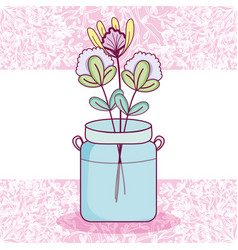 mason jar flowers pot card vector image