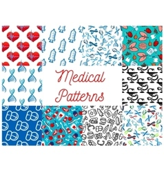 Medical tools medication items seamless pattern vector