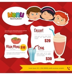 menu kids design vector image