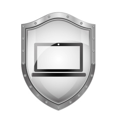 Metallic shield with laptop screen with keyboard vector