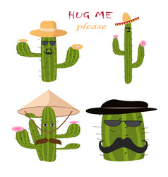 mexican green cactus with pink flouwers hug m vector image
