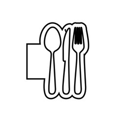 Monochrome contour emblem with cutlery icon vector