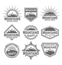 Mountains set of monochrome vintage badges vector
