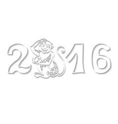 Numbers 2016 with MonkeyChinese zodiacWhite vector image