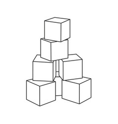 Outline block building tower for coloring book vector