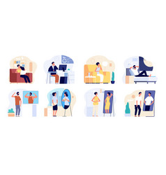 People and mirrors dreamy person affirmation vector