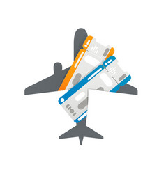 plane tickets to airplane silhouette vector image