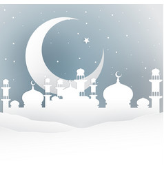 Ramadan night white paper cut style vector
