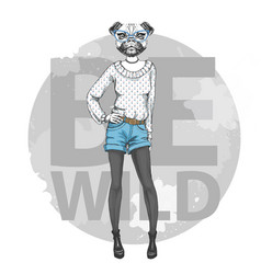 Retro hipster fashion animal pug dog woman model vector