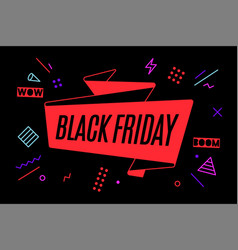 ribbon banner with text black friday vector image
