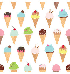 seamless pattern with ice cream cones vector image vector image