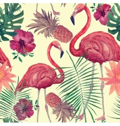 seamless watercolor pattern with flamingo leaves vector image