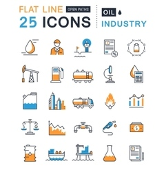 Set Flat Line Icons Oil Industry vector image