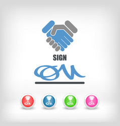 Sign on agreement document vector
