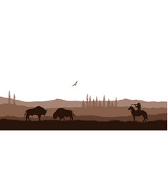 silhouette desert with cowboy on horse vector image