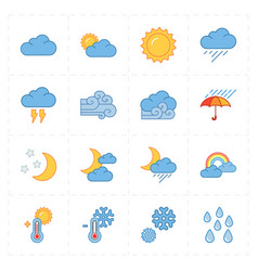 sixteen flat modern weather icons vector image vector image