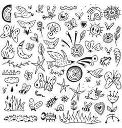 Spring insects - doodles collection vector image