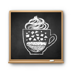square chalkboard with chalked frappe coffee vector image