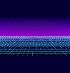 Synthwave background template retro futuristic vector