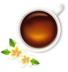 Tea cup with frangipani vector