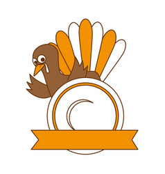Thanksgiving turkey with dish character icon vector