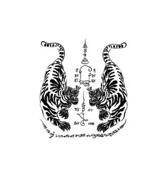 tiger thai tradition tattoo vector image