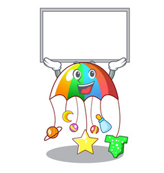 Up board character hanging toy attached to cot vector
