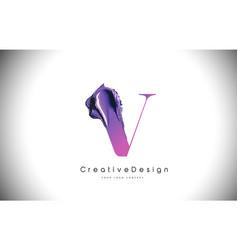 V letter design brush paint stroke purple vector